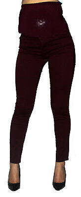 Plum Purple Maternity Skinny Jeans Confortable Slim High Waisted Elastic Band