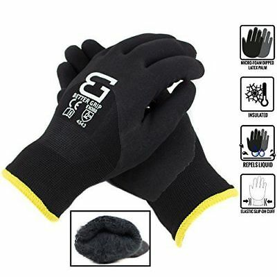 Safety Winter Insulated Double Lining Rubber 3/4Coated Work Gloves -BGWANS3/4-BK