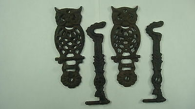 Old Tools Lot Of 2 Vtg CAST IRON OWL WALL BRACKET Basket Flowers Plants Hook