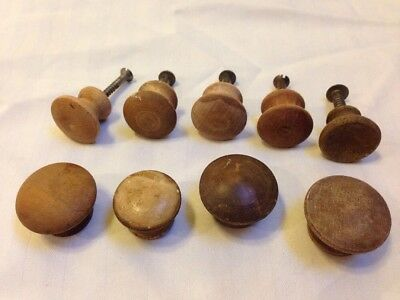 Vintage Mixed Lot 9 Round Wood Domed Turned Antique Knobs Drawer Pulls 3.5 2.5cm