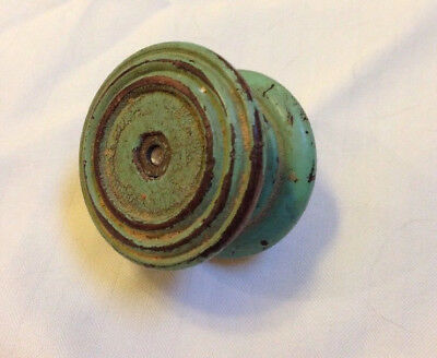Antique Primitive Distressed Painted Green Wood Paint Knob Drawer Pull 4.5cm