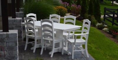 A&L Furniture Co. Amish-Made Poly 7pc Dining Set - Table & Ladderback Chairs