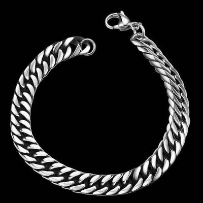 Silver Men's Wristband Bangle Jewelry Punk Stainless Steel Chain Link Bracelets