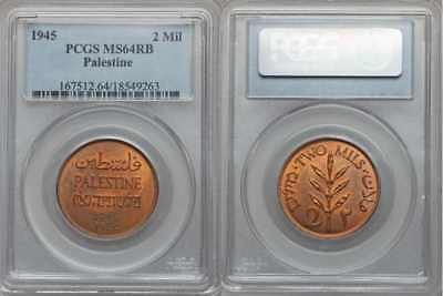 Rare Beautiful 1945 Bronze Coin Palestine Two Mils PCGS Graded MS 64 RB
