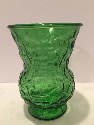 "Mid Century 1950s EO Brody Crinkle Retro Emerald Green Glass 8"" Flower Vase USA"
