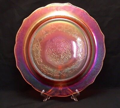 "Federal Depression Bouquet & Lattice Normandie Iridescent 11"" Dinner Plate Rare!"