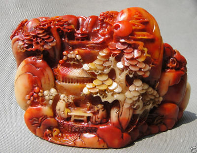 """6.0""""Collect Old Chinese Hand-Carved Natural ShouShan Stone scenery figure Statue"""