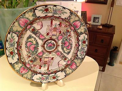 VTG Gorgeous Chinese Handpainted Gilded Enameled Decorative Porcelain Plate.