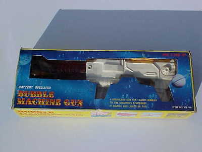 EXTREMELY RARE 1970's BATTERY OPERATED BUBBLE MACHINE GUN MINT IN BOX OLD STOCK