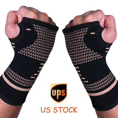 Copper Wrist Brace Compression Gloves Carpal Tunnel Support Hand Arthritis RSI