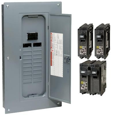 Square D 100 Amp 20 Space 40 Circuit Electrical Main Load Panel Breakers Center