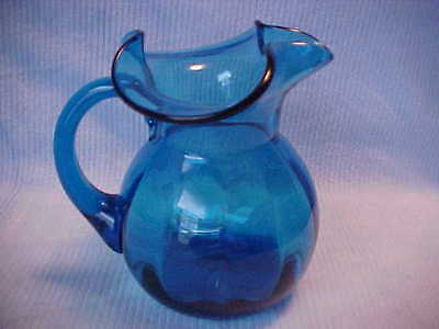 Blue Pitcher Wide Lip, Hand Blown Glass, Cobalt Blue