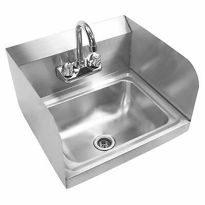 "17"" Commercial Kitchen Stainless Steel Wall Mount Hand Sink with Side Splashes"