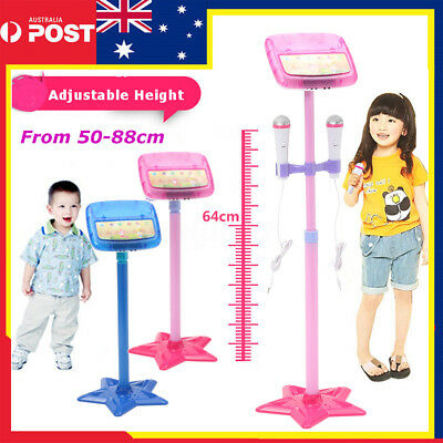 Kids Karaoke Machine With 2 Microphones Adjustable Stand Music Play Toy Set