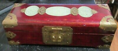 Chinese Celadon Jade Red Wood Jewelry Trunk Box