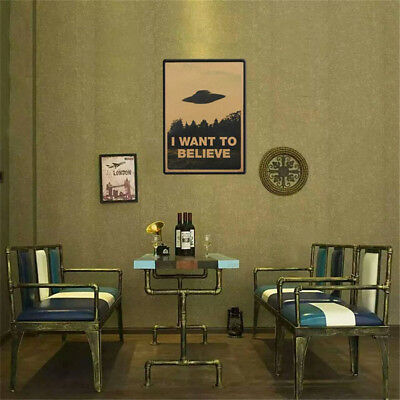 "Vintage Classic X FILES ""I Want To Believe"" Poster Wall Stickers Home Decor TR"