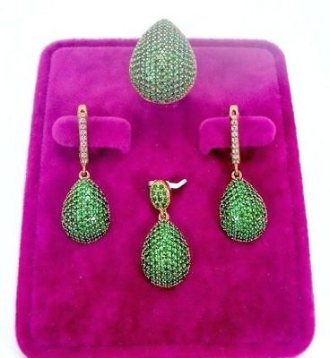 Sterling 925 Silver Jewelry Handmade Fabulous Micro-Pave Emerald  Full Set