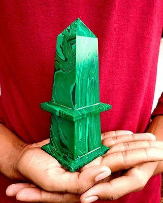 170MM Large Green Malachite Crystal Healing Energy Faceted Obelisk Point Tower