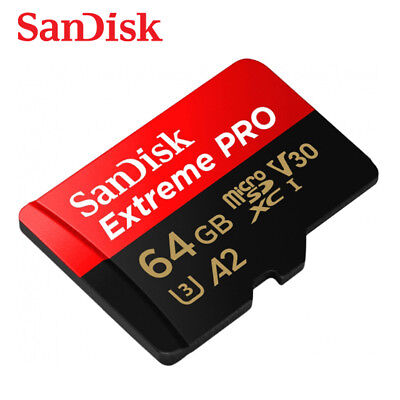 Sandisk Extreme PRO 64GB A2 V30 UHS-I U3 micro SDXC Card 170MBs Drone Action Cam