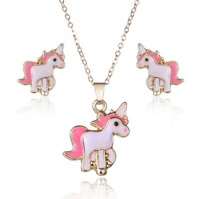 Childrens Girls Kids Pink Unicorn Necklace and Earring Set Brand New