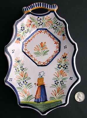 Henriot Quimper Hand-Painted French Faience Spoon Rest Plaque Breton France
