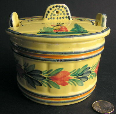 Henriot Quimper Hand-Painted French Faience Butter Tub w/ Lid Soleil France