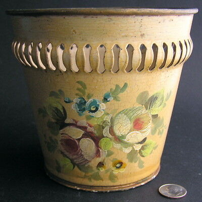Vintage / Antique Hand-Painted French Tole Toleware Cachepot Cache Pot Flower