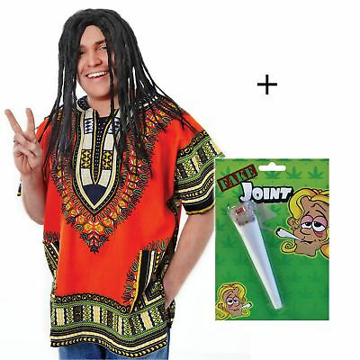 Adult Spliff Joint Jamaican Rasta Dreadlock Wig Bob Marley Caribbean Fancy Dress