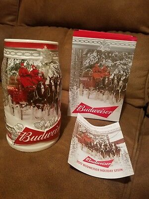 2017 Budweiser Annual Holiday Stein Holiday Retreat with minor factory flaw NEW