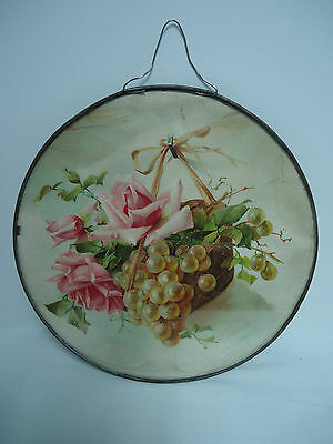 """Antique 1890's Basket of Roses & Grapes FLUE COVER STOVE PIPE COVER 9 1/2"""""""