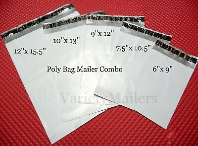 75 Poly Bag Shipping Envelope Variety ~ 5 Sizes / 2.5 Mil ~ Self-Sealing Mailers