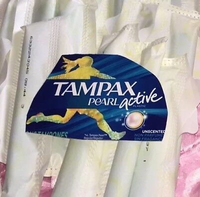 (50) Bag Of Tampax Pearl Active Tampons Unscented Factory Sealed