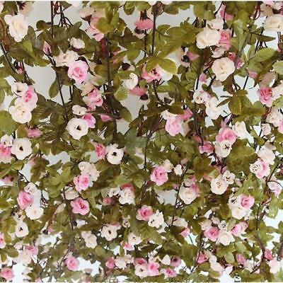 7ft Shabby Chic Pink Rose Garland Flower Vintage Style WEDDING String Bedroom BE