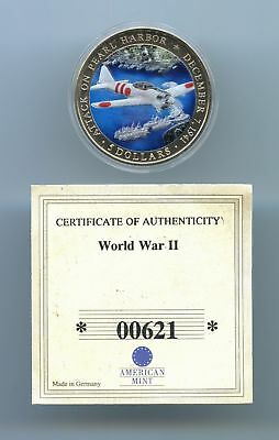 Liberia ~ 2000 ~ $5 ~ Pearl Harbor ~ Japanese Zero ~ Bu ~ Colorized