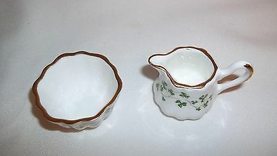 Mini Gold Trimmed Bone China Shamrock Pitcher and Bowl made in Ireland