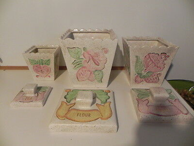Vintage 3 piece Canister set. Ceramic. Pretty Flowers,Fruit,Birds Pale Colors