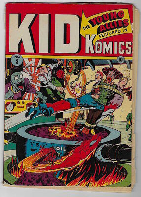 KID KOMICS #3 War cover Timely. Vision story.