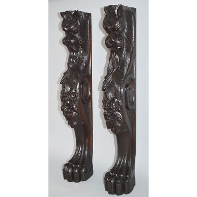 Spectacular Pair English Ornately Carved Mythical Lion Pillars Columns Corbels