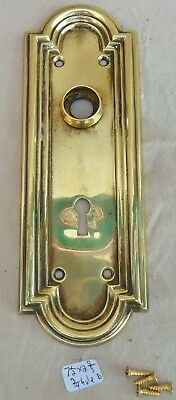 "Door Knob Back Plate (one) antique vintage Fancy  stamped brass 7 1/2"" x 2  5/8"""