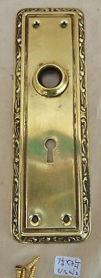"Door Knob Back Plate (one) antique vintage Fancy  stamped brass 7 1/2"" x 2 1/4"""