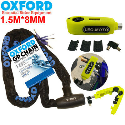 Oxford HD GP Motorbike Motorcycle Chain Lock 1.5Mx8MM LK105 + Brake Lever Lock