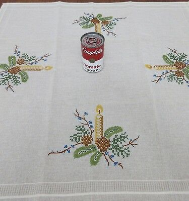 Vtg Embroidered,cross Stitch Square Christmas Tablecloth Runner,topper,pristine