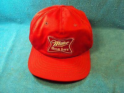 Vtg Red MILLER HIGH LIFE Beer Patch Snap Back Baseball Trucker Style Cap Hat
