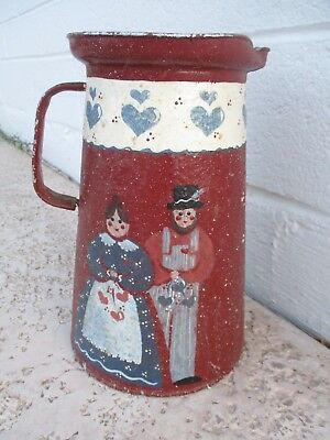 VINTAGE TOLE PAINTED Tin Water Pitcher FOLK ART Toleware Signed Lizzie