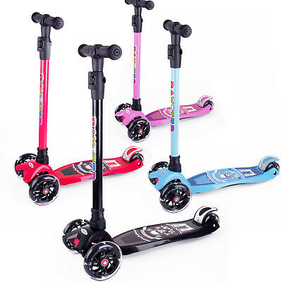 Kinderscooter Dreirad Scooter Roller Tretroller Kinder LED Blinken Geschenk