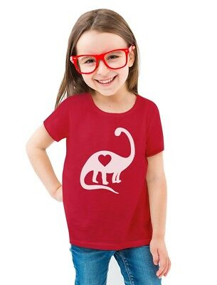 Love Dinosaur Heart Valentine's Day Gift Cute Toddler/Kids Girls' Fitted T-Shirt