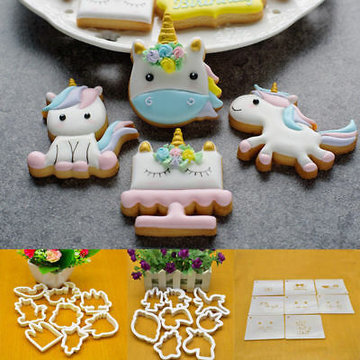 8pcs Unicorn Cookie Biscuit Embossing Mould Sugarcraft Cake Cutters Molds Decor