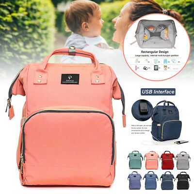 Pofunuo Waterproof Baby Diaper Nappy Mummy Bag Backpack Outdoor USB Interface
