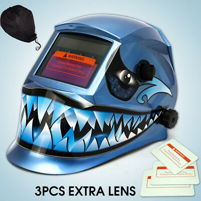 3 Lens + 1 Bag + Solar Welding Grinding Helmet Auto Darkening Mask Blue Shark