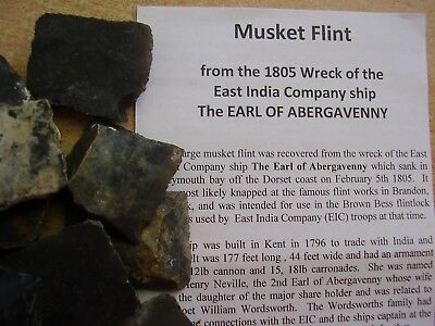 One Large Flint for Brown Bess Musket from 1805 ShipWreck